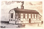 Helsingborgs bryggerier, illustration av den första bryggeribyggnaden uppförd 1850. Bild från  boken Bryggerier i Sverige (1983) – Staffan Nilsson