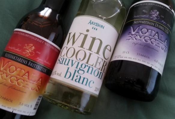 Slussvaktarens Brittbitter Skepparpinan Dubble IPA Åkesson Winecooler Sauvignon Blanc