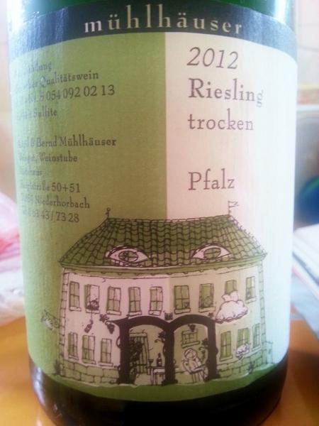 Muhlhauser 2012 Riesling trocken Pfalz (450x600)