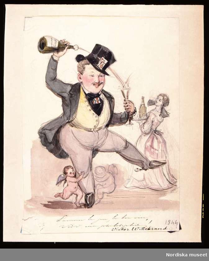 """L'amour le jeu, le bon vin, voilà ma philosophie!"""". Akvarell av Fritz von Dardel, 1844 - bild från Digitalt museum"""
